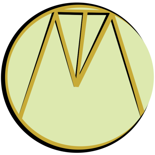 Cripping the Muse Logo. A pale gold circle, around the edge of the circle is a black and gold 'C'. Within the circle is a capital M. within the central dip of the 'M' is a capital T. All letters are black and gold.